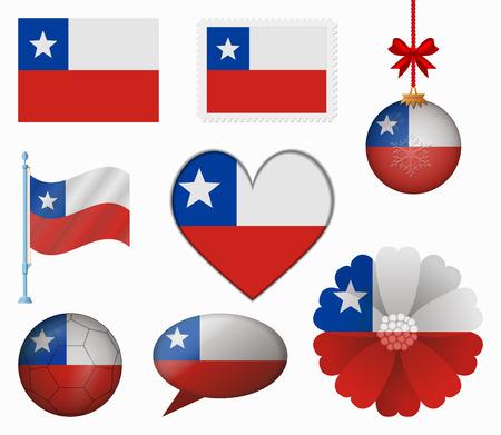 bandera de chile: Chile pabell�n conjunto de 8 art�culos vector