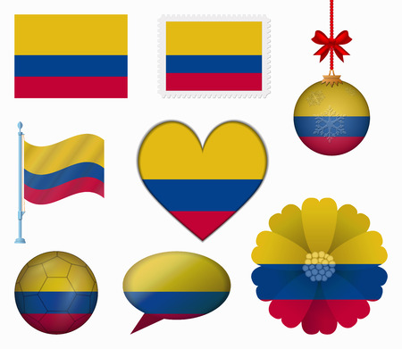 colombia flag: Colombia flag set of 8 items vector