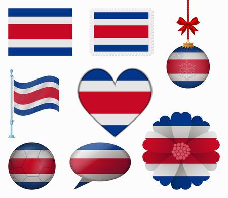 bandera de costa rica: Costa Rica pabell�n conjunto de 8 art�culos vector