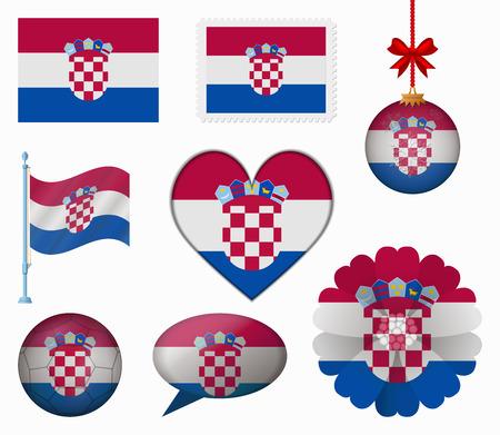 bandera croacia: Croacia pabell�n conjunto de 8 art�culos vector