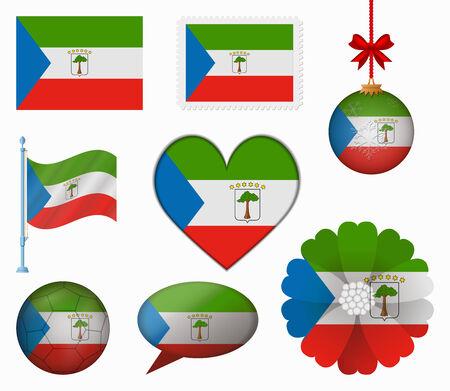 equatorial: Equatorial Guinea flag set of 8 items vector