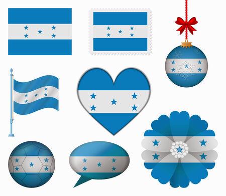bandera honduras: Honduras pabell�n conjunto de 8 art�culos vector