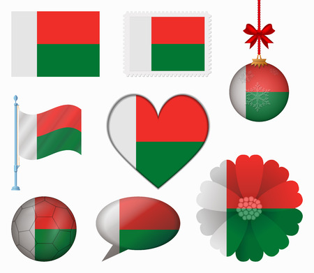 Madagascar flag set of 8 items vector Vector