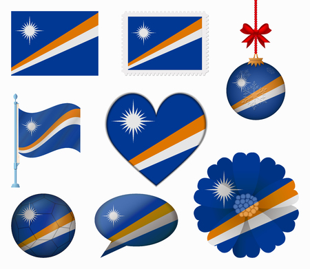 marshall: Marshall Islands flag set of 8 items vector
