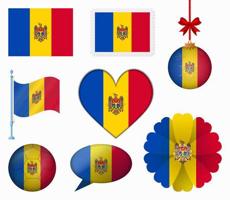 Moldova flag set of 8 items vector