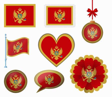 montenegro: Montenegro flag set of 8 items vector