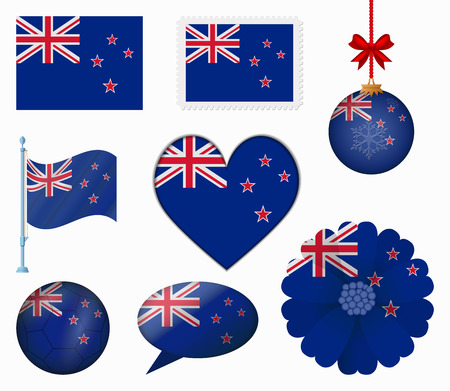 new zealand flag: New Zealand flag set of 8 items vector Illustration