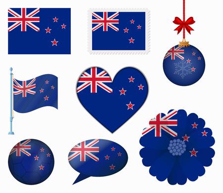 new zealand flag: Nuova Zelanda Bandiera set di 8 articoli vettore