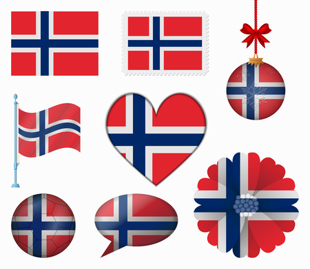 norway flag: Norway flag set of 8 items vector Illustration