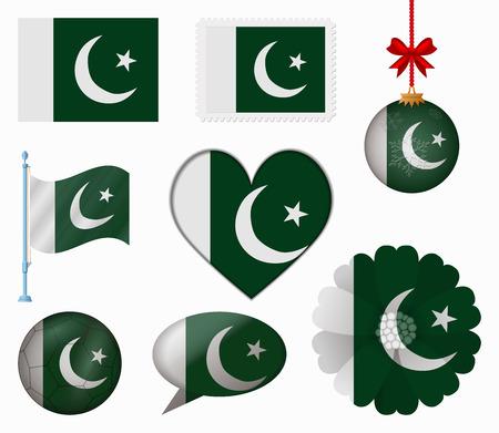 pakistan flag: Pakistan flag set of 8 items vector Illustration