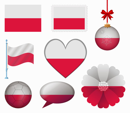 poland flag: Poland flag set of 8 items vector