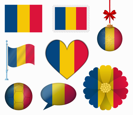 romania flag: Romania flag set of 8 items vector Illustration