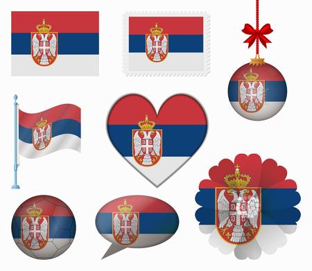 serbia flag: Serbia flag set of 8 items vector