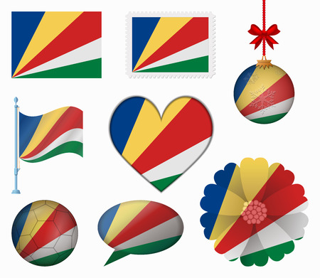 seychelles: Seychelles flag set of 8 items vector