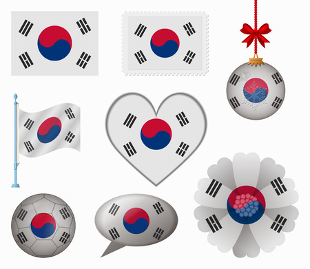 South Korea flag set of 8 items vector Vector