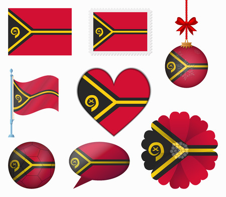 vanuatu: Vanuatu flag set of 8 items vector Illustration