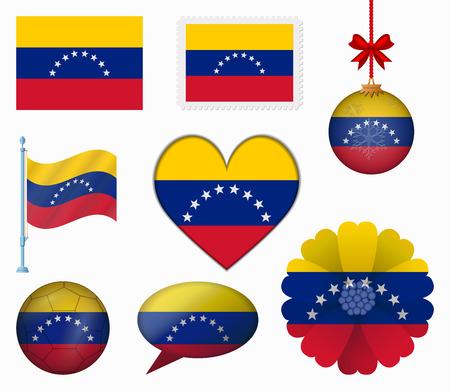 Venezuela flag set of 8 items vector Vectores