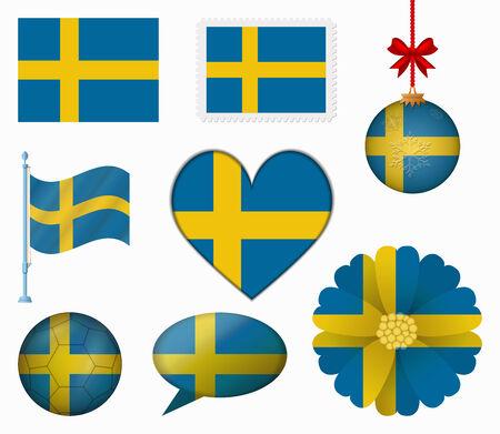 bandera suecia: Suecia pabell�n conjunto de 8 art�culos vector