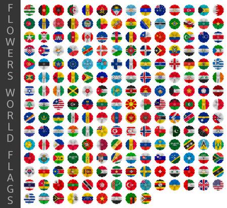 Fleurs drapeaux du monde Banque d'images - 37786928