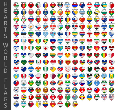 hearts world flags Vector