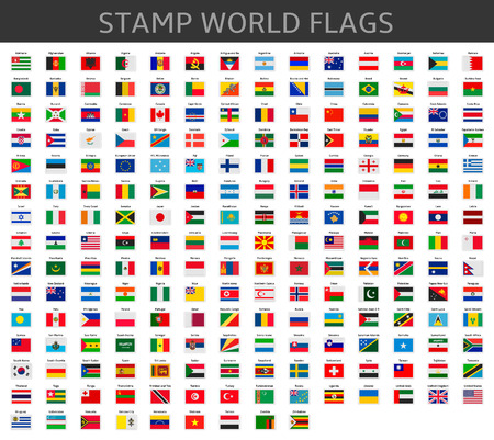 stamps world flags Stock Illustratie