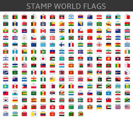 nações: selos bandeiras do mundo Ilustração