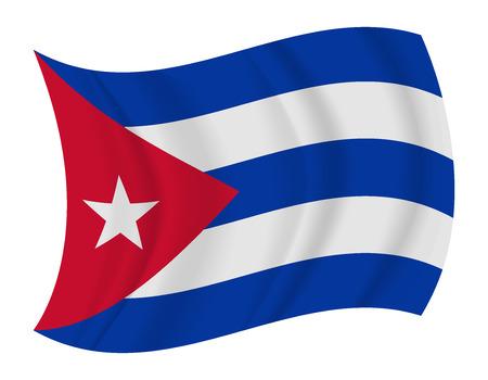 bandera cuba: dise�ar Cuba bandera ondeando vector Vectores