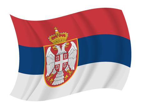serbia flag: design Serbia flag waving vector Illustration