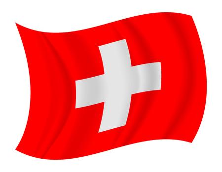 design Switzerland flag waving vector  イラスト・ベクター素材