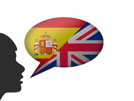 speaking spanish and english Stock Illustratie