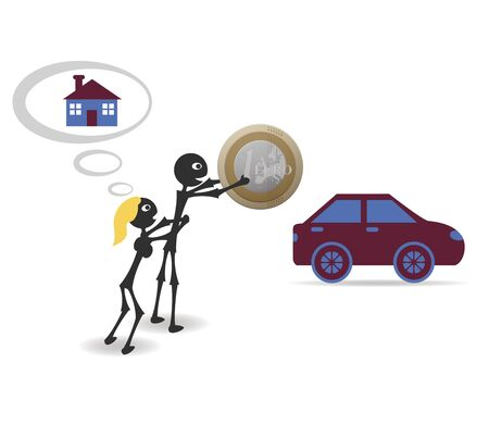 opportunity concept: buy car or home