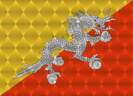 bhutan: bhutan low poly flag Illustration