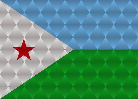 djibouti low poly flag