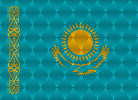 kazakhstan: kazakhstan low poly flag Illustration