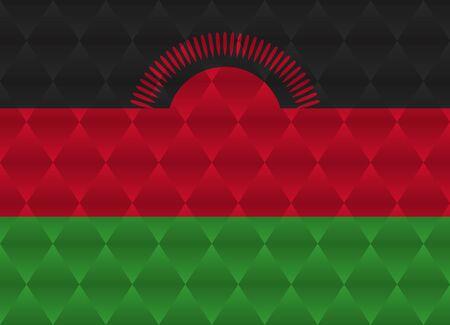malawi: malawi low poly flag