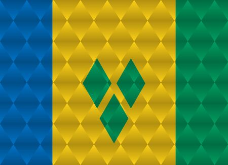 grenadines: saint vincent and the grenadines low poly flag