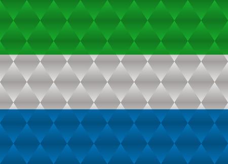 sierra: sierra leone low poly flag Illustration