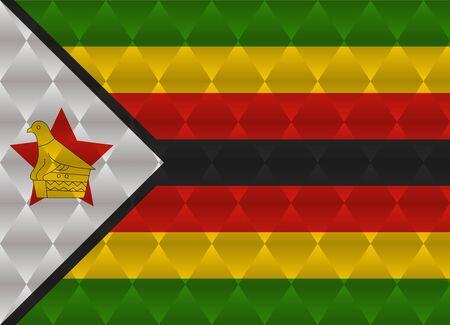 zimbabwe: zimbabwe low poly flag Illustration