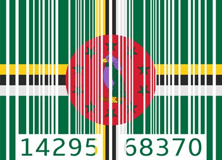 dominica: bar code flag dominica Illustration