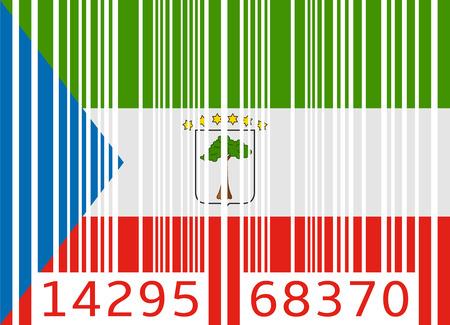 código de barras de la bandera Guinea Ecuatorial Ilustración de vector