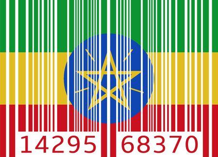 ethiopia abstract: bar code flag ethiopia