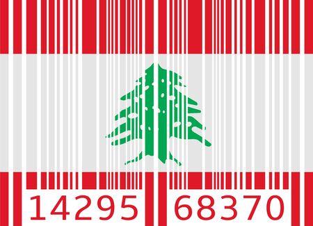 lebanon: bar code flag lebanon Illustration