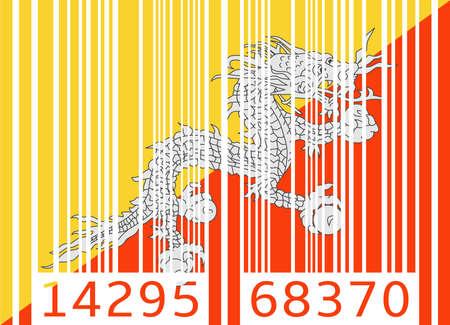 bhutan: barcode vlag van Bhutan