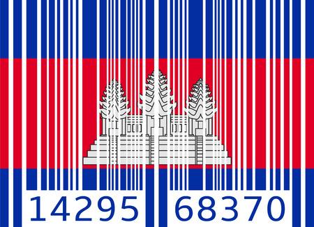 cambodia: bar code flag cambodia