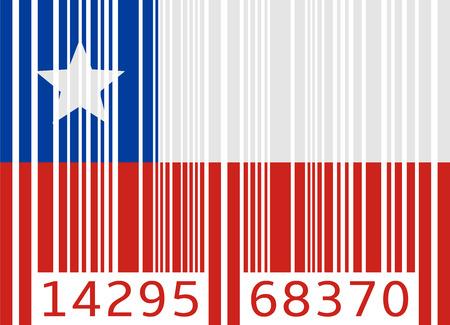 barcode vlag van Chili Stock Illustratie