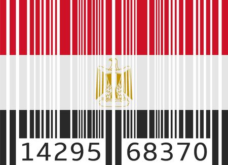 flag of egypt: bar code flag egypt Illustration