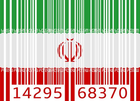 iran: bar code flag iran Illustration