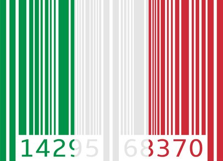 bar code flag italy Vector