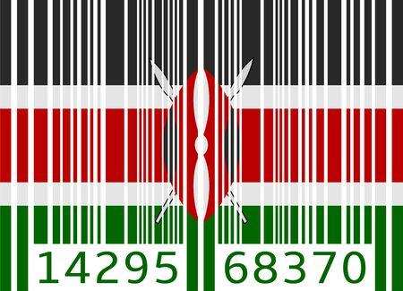 kenya: bar code flag kenya Illustration