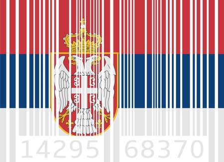 serbien: Barcode-Flagge Serbien Illustration